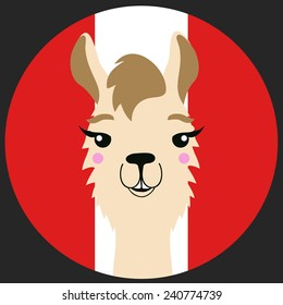 Funny vector lama with Peru flag on the background
