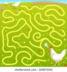 "Funny Vector Maze Game: Alone ""Free Range"" Cartoon Chicken find his Family in the Fields. Farm Style Illustration"