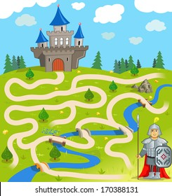 Funny Vector Maze Game: the Brave Warrior Find the Way to the Castle. (Vector Illustration EPS8) Help to Funny Knight!