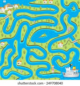 Funny vector maze game: the cartoon cruise ship find the way to the port