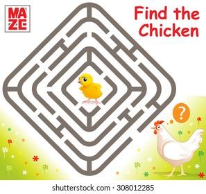 Funny Vector Maze Game: Cartoon Chicken Finds Baby Chicken. Vector Illustration