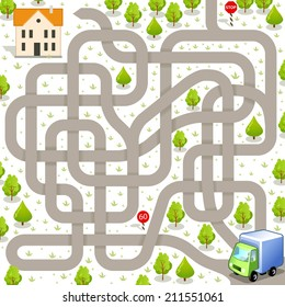 Funny Vector Maze Game: Delivery Truck Find the Way to the Building. Tangled Road and Delivery Service