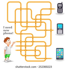 Funny Vector Maze Game: Help the Boy to Choose a New Mobile Phone. EPS 10 Vector