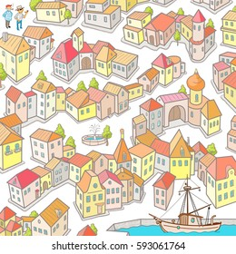 Funny Vector Maze Game: Help to Sailors Find the Way to their Boat. Hand Drawing Vector Illustration of Cartoon City