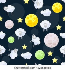 Funny vector pattern background with clouds, stars, bright planets and cute sheep on the dark cover in open space
