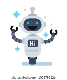 Funny vector robot in flat style on white