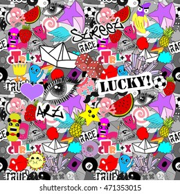 Funny vector seamless pattern bright colorful stickers characters background, graffiti street art style