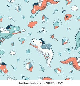 Funny vector seamless pattern. Cute hand drawn doodle design baby shower cards, brochures, invitations  with dragons, dinosaur, diamonds, flowers. Cartoon animals background. Child wallpaper