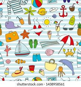 Funny vector seamless pattern with vacations elements. Can be used for decoration of albums, blog, web sites, postcard, poster. Sea elements - anchor, palm, fish, hat, ship, shell. Happy traveling!