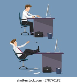 Funny vector set of managers in office. Concept of office life. Cartoon flat style character.