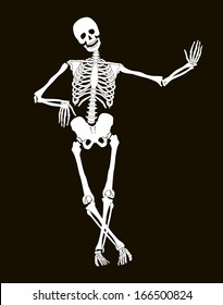 Funny vector skeleton isolated over black. Halloween design