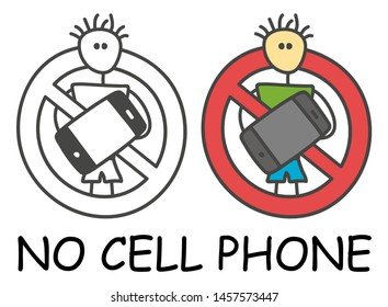 Funny vector stick man with a mobile in children's style. No cell phone no telephone sign red prohibition. Stop symbol. Prohibition icon sticker for area places. Isolated on white background.