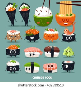 Funny vector sushi characters. Set of icons. Asian cuisine.
