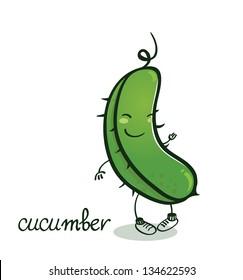 Funny vector vegetables. Green Cucumber