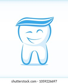 Funny Vector Winking Tooth Character with Toothpaste