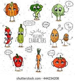 Funny vegetable characters set isolated on white background Vector illustration Cute and happy faces Cartoon design diet nutrition Tomato Pumpkin Potato Cabbage Carrot Hot pepper Broccoli Squash
