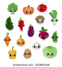 funny vegetables faces set, social media icons