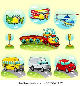 Funny vehicles with background. Cartoon and vector illustration.