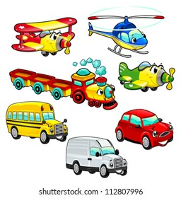 Funny vehicles. Cartoon and vector isolated characters.