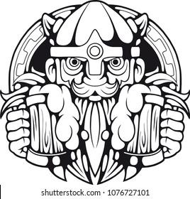 funny viking with beer in hands, illustration design logo