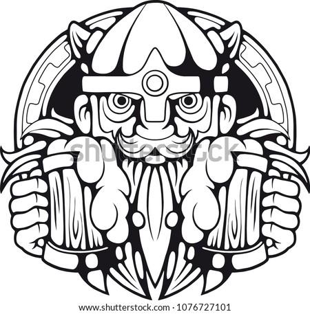 3dcb21b0 Funny Viking Beer Hands Illustration Design Stock Vector (Royalty ...