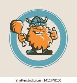 Funny Viking. Vector Isolated Graphic Design Illustration. Smiling male character, happy, friendly in helmet with horns, holding chicken leg, with thumb up. Cheerful, cartoon, flat, comic logotype