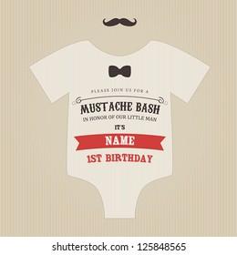 Funny vintage baby birthday mustache bash invitation