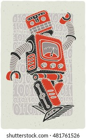 Funny vintage robot vector graphic illustration