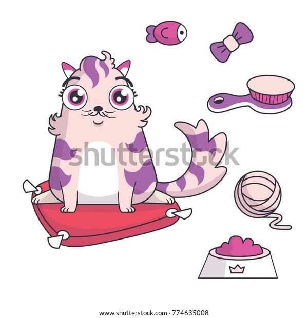 Funny virtual pet. Cute cat character vector illustrations set