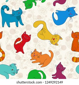 Funny vivid colors cats. Children cartoon seamless pattern.