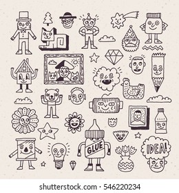 Funny and Wacky Creatures Doodle Characters. Vector Hand Drawn Illustration.