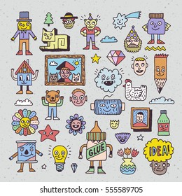 Funny and Wacky Creatures Doodle Characters. Vector Hand Drawn Color Illustration.