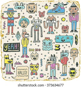 Funny Wacky Doodle Characters Set 11. Vintage Texture. Vector Illustration.