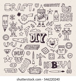 Funny and Wacky Doodle Creativity Diy Arts and Hobby. Vector Hand Drawn Illustration.