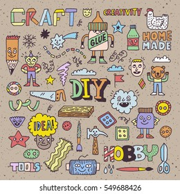 Funny and Wacky Doodle Creativity Diy Arts and Hobby. Vector Hand Drawn Color Illustration.