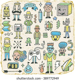Funny Wacky Doodle Hipster Characters Set 2. Vintage Texture. Vector Illustration.