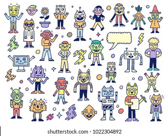 Funny Wacky Doodle Unusual Characters Set 1. Vector Outline Illustration.