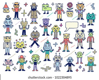 Funny Wacky Doodle Unusual Characters Set 2. Vector Outline Illustration.