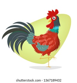 funny walking rooster cartoon illustration