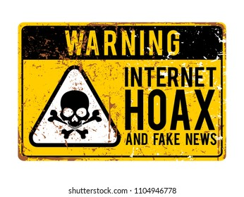 funny warning signs. Internet hoax and fake news alert