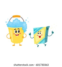 Funny washing powder, laundry detergent and soap foam bucket characters with smiling human faces, cartoon vector illustration isolated on white background.