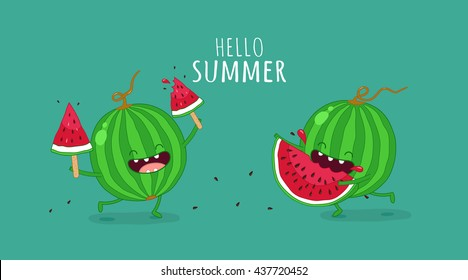 Funny watermelon eating a piece of watermelon. Hello summer. Use for card, poster, banner, web design and print on t-shirt. Easy to edit. Vector illustration.
