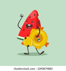 Funny Watermelon with inflatable rubber ring in duck form. Vector cartoon fruit character isolated on background.