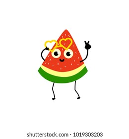 Funny watermelon party character with human face wearing heart-shaped glasses, flat cartoon, doodle style vector illustration isolated on white background. Watermelon character in glasses at party