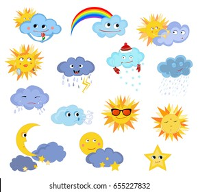 Funny weather. Weather for children. Vector drawing. Clouds, sun, rainbow, rain, snow, storm, wind, moon, stars.