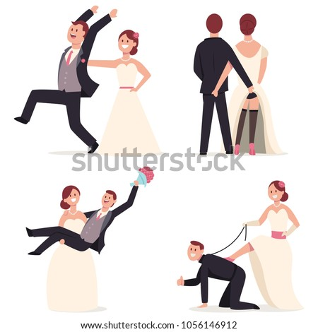 Funny Wedding Cake Toppers Figures Bride Stock Vector (Royalty Free ...