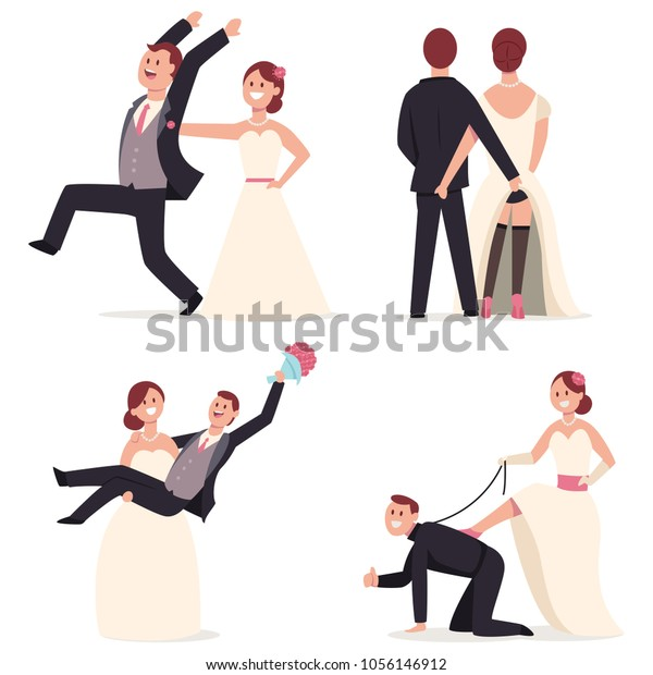 Funny Wedding Cake Toppers Figures Bride Stock Vector Royalty Free 1056146912