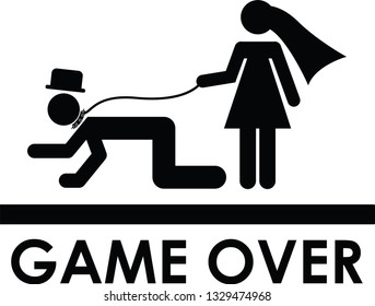Funny wedding couple - Game Over Man