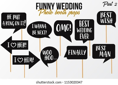 Funny Wedding Photobooth Props On Sticks Stock Vector Royalty Free
