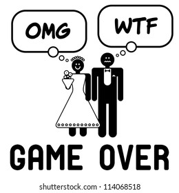 Funny wedding symbol with speech bubbles